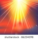 Background featuring heavenly light breaking through the clouds - stock photo