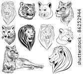 set of vector lions  tigers ... | Shutterstock .eps vector #86252944