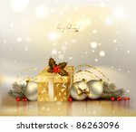 light christmas background with ... | Shutterstock .eps vector #86263096