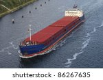 freighter on the Kiel Canal, Germany - stock photo