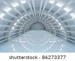 Empty Futuristic Interior With...
