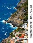 riomaggiore village and via del ... | Shutterstock . vector #86273953