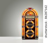 Old Retro Jukebox In An Empty...