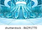 wide escalators stairways...