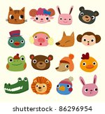 Stock vector cartoon animal head icons 86296954