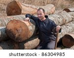 woodcutter with an axe and a... | Shutterstock . vector #86304985