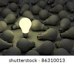 one glowing light bulb standing ... | Shutterstock . vector #86310013