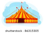 Big top circus tent - stock vector
