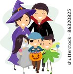 Illustration of a Family Dressed in Halloween Costumes - stock vector