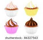 cupcake with cream and chocolate | Shutterstock .eps vector #86327563