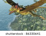 A peteinosaurus dinosaur soars skyward above the sea - 3D render with digital painting. - stock photo
