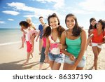 teenagers walking on beach | Shutterstock . vector #86337190