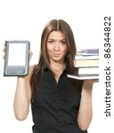 woman compare books and new... | Shutterstock . vector #86344822