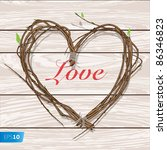 Heart Woven Of Twigs  Vector...