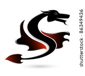 Abstract black dragon. Illustration on white background for design. - stock photo
