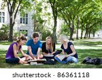 college students studying... | Shutterstock . vector #86361118