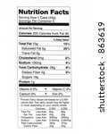 nutrition facts label 2 | Shutterstock . vector #863619