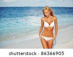 Woman In Bikini On Sea...