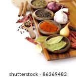 spices assortment on a cutting... | Shutterstock . vector #86369482