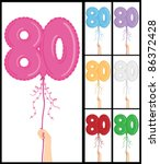 80,80th,balloon,birthday,blue,boy,bright,card,celebration,colorful,decoration,eighty,female,floating,gift
