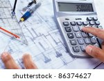 hand calculating the cost of... | Shutterstock . vector #86374627