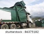 garbage truck empty s a... | Shutterstock . vector #86375182