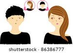 a couple thinking of you boy... | Shutterstock .eps vector #86386777