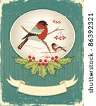 Bullfinches In Winter.vintage...