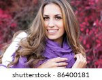 Young beautiful woman wearing winter clothing - stock photo