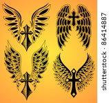 vector set of cross and wings   ... | Shutterstock .eps vector #86414887