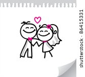 cartoon wedding couple on... | Shutterstock . vector #86415331