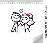cartoon wedding couple on... | Shutterstock . vector #86415331