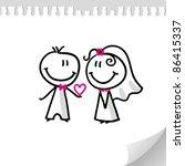 cheerful wedding couple on... | Shutterstock . vector #86415337