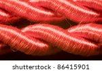 macro shot of red twine - stock photo