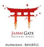 origami Japan gate Torii shaped from flying birds - JPG version - stock photo