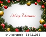 christmas card with pine... | Shutterstock .eps vector #86421058