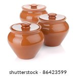 Three clay pots. Isolated on white background - stock photo