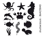 silhouette sea animals isolated ... | Shutterstock .eps vector #86425840