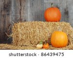 Pumpkins And Gourds On Straw