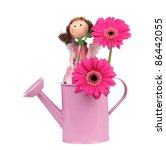 Pink watering can with pink flower and fairy - stock photo