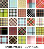 color plaid patterns set