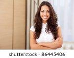 very happy young woman standing ... | Shutterstock . vector #86445406