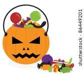 pumpkin halloween bucket filled ... | Shutterstock .eps vector #86449201