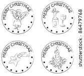 4 christmas coin stamps... | Shutterstock .eps vector #86479768