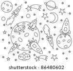 coloring book with spaceships... | Shutterstock .eps vector #86480602