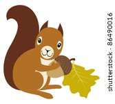 squirrel with acorn and oak... | Shutterstock .eps vector #86490016