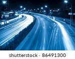 rush hour traffic at night - stock photo