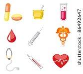 illustration of set of medical icon on plane white background - stock vector