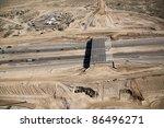 Construction of bridge over Freeway - stock photo