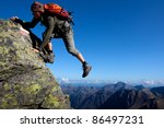 young man climbing the mountain ... | Shutterstock . vector #86497231